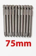 10pc 75mm Long Magnetic PH2 Phillips Head Screw Bit Impact Driver Drill 1/4""