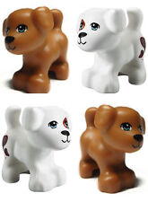 LEGO LOT 4 pcs FRIENDS WHITE BROWN DOG Pet Shop Animal Figure Minifig Minifigure