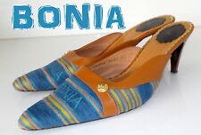 "Fabulous ""BONIA""  Brown/BLUE Denim LEATHER MULES  Sandals  Shoes UK 6 EU 39 £95"