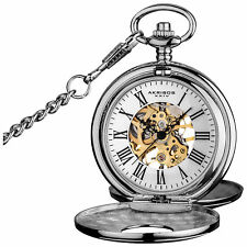 Men's Akribos XXIV AK609SS Antique Mechanical Skeleton Chain Pocket Watch