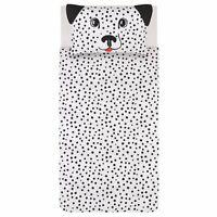 White 3D Dalmatian Dog Ears Easy Care Reversible Duvet Set SINGLE