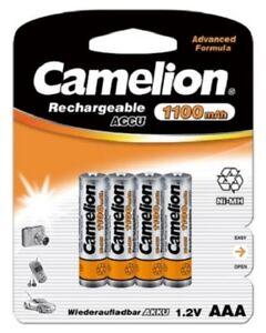 Camelion AAA Micro 1100 mAh Akku 4 Stück Aufladbar für Telefon Telekom Siemens