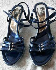 NEUF ! Chaussures Talon compensé VIA FILLUNGO Italy Bleu irisé T 38 Clou argent
