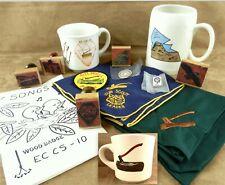 BSA Scout Wood Badge Lot 14Pcs Stamps Mugs Neckerchiefs 75th Gilwell EC-CS T04