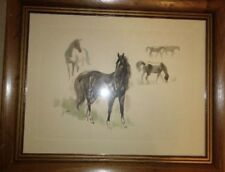 Framed Jandro Drawing Of Horses