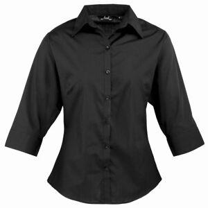 New Black Premier Ladies 3/4 Sleeve Poplin Blouse Work Shirt PR305 CLEARENCE