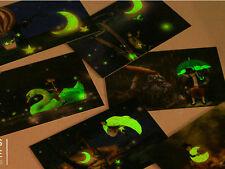 LOT 30PCS Glow in Dark Cartoon Postcard Enchanted Forests Animals Bulk Set #33