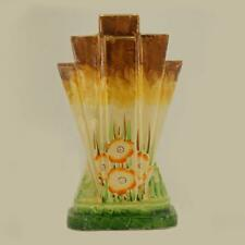 Myott Son & Co Art Deco Pyramid Vase Rare Hand Painted Poppy Design Fan Vase