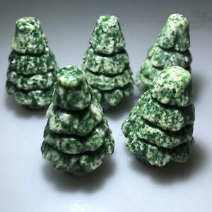 2'' Natural Qinghai Emerald stone Quartz Crystal Christmas tree.1pc