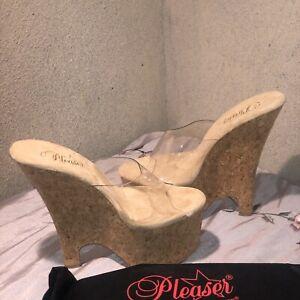 "PLEASER Sexy Cork Platform Wedges 6 1/2"" Heels Slip On Exotic Shoes BEAU601/C/CK"