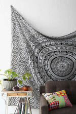 NewTwin indian tapestry wall hanging home decor white black ELEPHANT   mandela