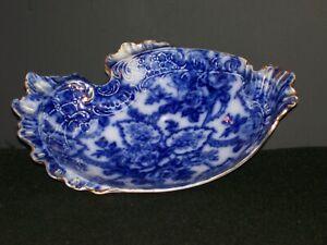 ANTIQUE LAUGHLIN Flow Blue Leaf Dish, East Liverpool, Ohio,1872.*MUSEUM QUALITY*