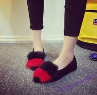Casual New Flats Ladies Shoes Slip On Furry Pointy Toe Gommino Sweet Girls Pump
