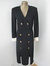 St John black Santana sweater dress military lots of buttons white cuffs Sz 2