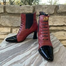 Vintage Faire Lady Oxblood Red Cap Toe Victorian Ankle Boots 37