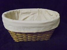 Nice Wicker Weaved Basket with SIMPLIFY on Cream Cloth  12 x 9 x 6