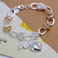 925 Sterling Silver Filled  Ring Heart Padlock Lock Pendant Charm Bracelet Gift