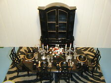 OOAK BARBIE SIZE DINNING ROOM SET w/TABLE, DISHES, CURIO & RUG