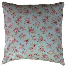 Duck Egg Blue Cushion Cover Pink Vintage Floral  Shabby Chic