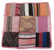 "Vintage Handmade Moroccan Berber Rug Pouf Ottoman Beni Ourain 24""Sq. x 9"" h"