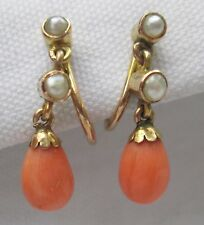 Antique Victorian 9ct Gold Teardrop Coral Seed Pearl Screw Back Dangle Earrings