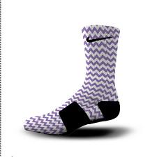 Custom Nike Elite Socks All Sizes CHEVRON PURPLE