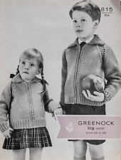 "Greenock Knitting Pattern 815 Zip Jacket 22-28"" Boys Girls Chunky Vintage"