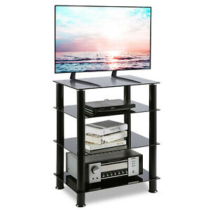 HiFi Stand AV Shelf TV Stand Rack 4-Tiers Audio Rack Entertainment Media Cabinet