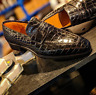 Handmade Men dark Brown Moccasin Dress Crocodile Texture Leather Office Shoes