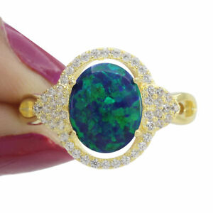 Oval Green Opal D/VVS1 Diamond 14K Yellow Gold Over Halo Cluster Ring 8