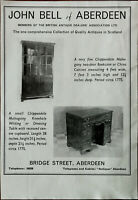 John Bell of Aberdeen Chippendale Mahogany Two-Door Bookcase Vintage Advert 1967