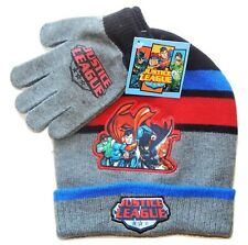 JUSTICE LEAGUE BATMAN SUPERMAN Boys Knit Winter Beanie Hat & Gloves Set NWT