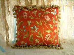 """18"""" Traditional Dark Red French Country Butterfly Floral Embroidery Pillow Cover"""
