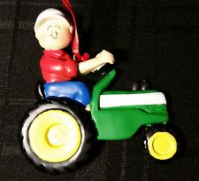 Personalized Green Tractor with Male/Boy Christmas Tree Ornament Holiday Gift
