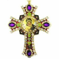 Jeweled Wall Icon Cross Virgin of Vladimir Enameled Room Wall Decoration 6""