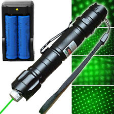 New Powerful Green Laser Pointer Lazer Pen Beam w/ 18650 Battery & Wall Charger