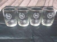 VTG Sheridan Hotel S Monogram Water Glasses Set of 4