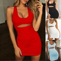 UK Women Backless Sexy Pleated Slim Cutout Sleeveless Ladies Party Bodycon Dress