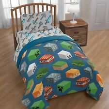 Minecraft Builders Boys Blue Twin Comforter & Sheet Set (4 Piece Bed In A Bag)
