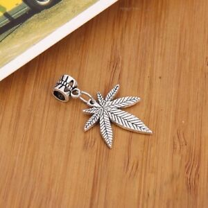 NEW Hemp Pot Weed Hippie Silver Leaf  European Charm Bracelet Necklace Pendant