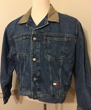 bb53a8936a21 Tommy Jeans Hilfiger Jean Jacket Men s Denim Large L Lg Vintage Khaki  Collar GUC