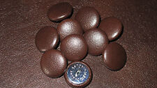 10 Upholstery buttons Satin Dark Brown  leather 25mm Buttons