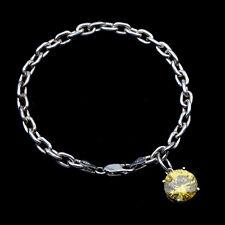 M.925 Sterling Silver Bracelet Citrine Tone Cut CZ Crystal Charm - Italy