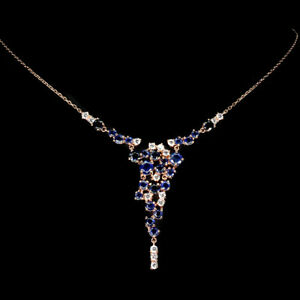 Unheated Round Kyanite 5mm Cz 14K Rose Gold Plate 925 Sterling Silver Necklace