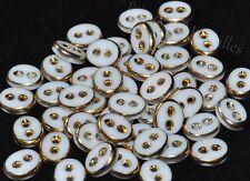 Mercerie Lot de 5 boutons verre blanc et doré ovale 9mm X 11mm button