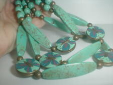 GORGEOUS estate jewelry TRIPLE STRAND CLOISONNE BUTTERFLY TURQUOISE NECKLACE
