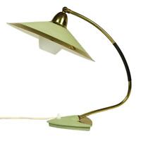 Tisch Leuchte Schrumpflack & Messing Lese Lampe Vintage Top Design 50er Jahre