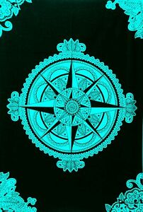 Compass Star Cotton Tapestry Poster Indian Small Handmade Table Cover Hippeee
