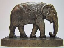 Antique 1924 Phosphor Bronze Smelting Co Advertising Elephant Art Paperweight
