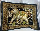 Vtg BOHO Beaded Sequined Velvet Elephant Tablt Topper Wall Hanging Tapestry